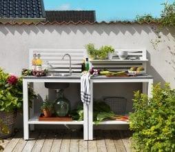 Lauko virtuvė Bellac su kriaukle Brafab bjarnumbaldai